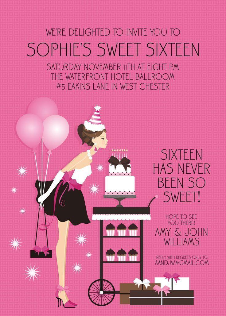 sweet 16 birthday invitations uk | Invitations card template ...