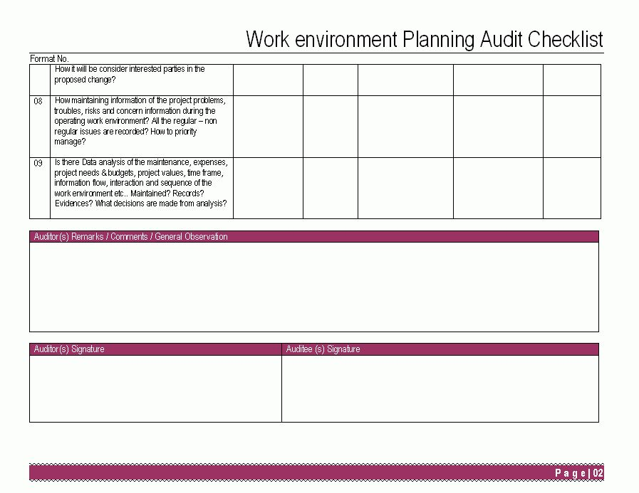 Work Environment Planning Audit Checklist