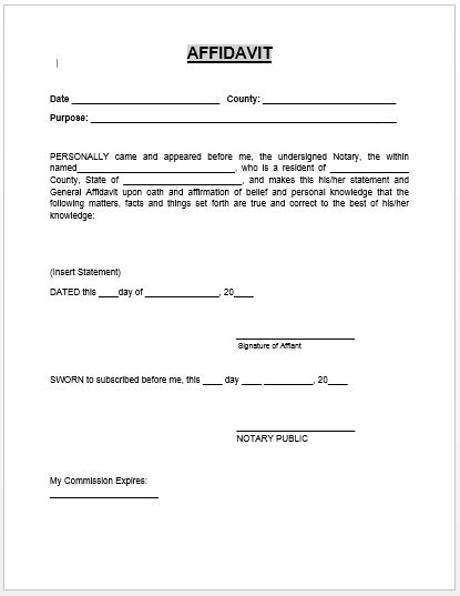 Editable Affidavit Form Template with Sworn and Date and Signature ...