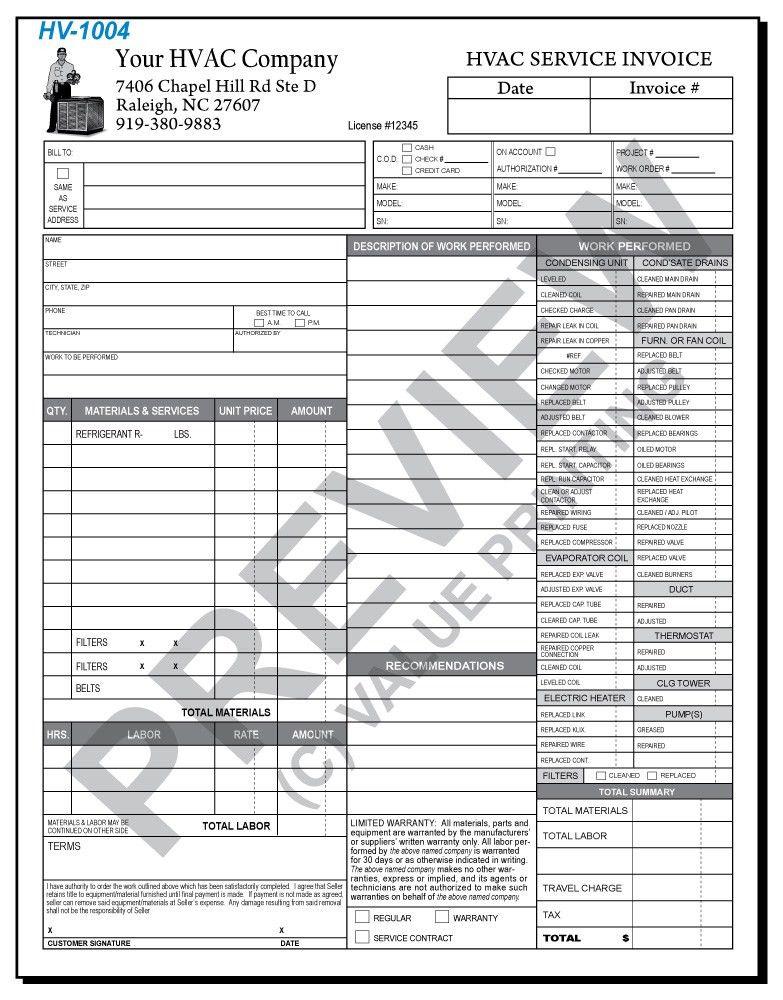 Hvac Invoice Templates. Hvac Repair Invoice Details File Format 5+ ...