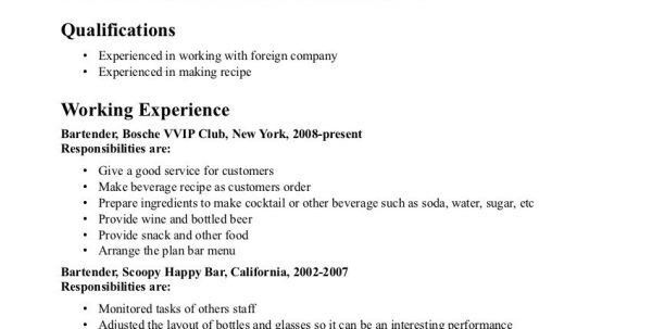 Resume Objective For Server Bartender Bar Server Resume Sample ...