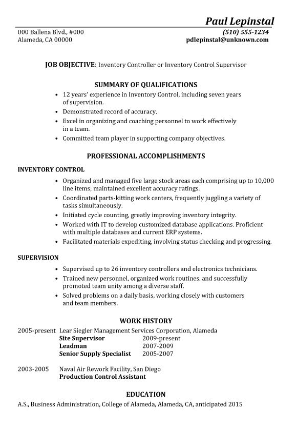 Resume Sample: Inventory Control Supervisor