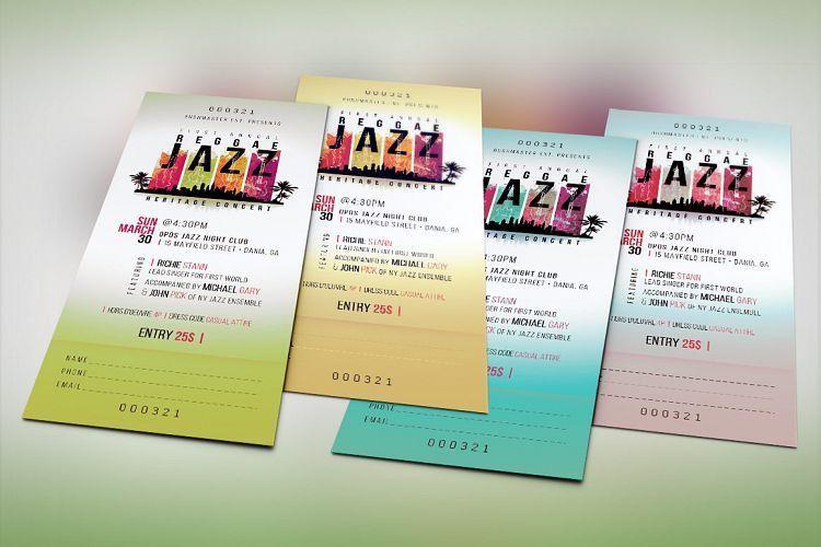 Reggae Jazz Concert Ticket Template by | Design Bundles