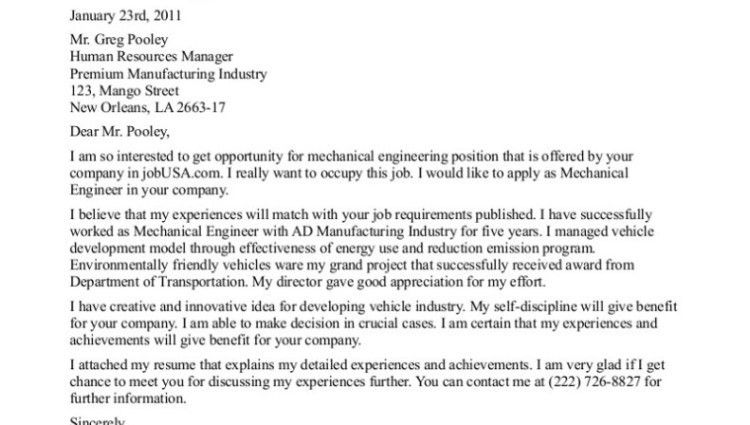 mechanical engineering cover letter example - Writing Resume ...