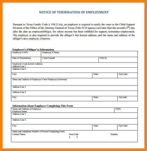 Termination Letter Format Free Word Templates Employment 33 ...