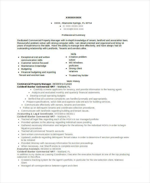 Property Manager Resume - 9+ Free Word, PDF Documents Download ...