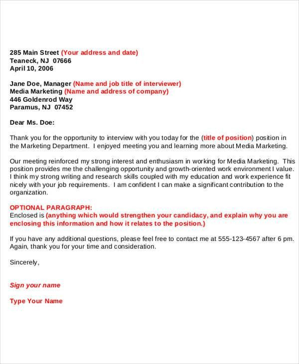 Formal Interview Letter. Official Thank You Letter 48+ Examples Of ...
