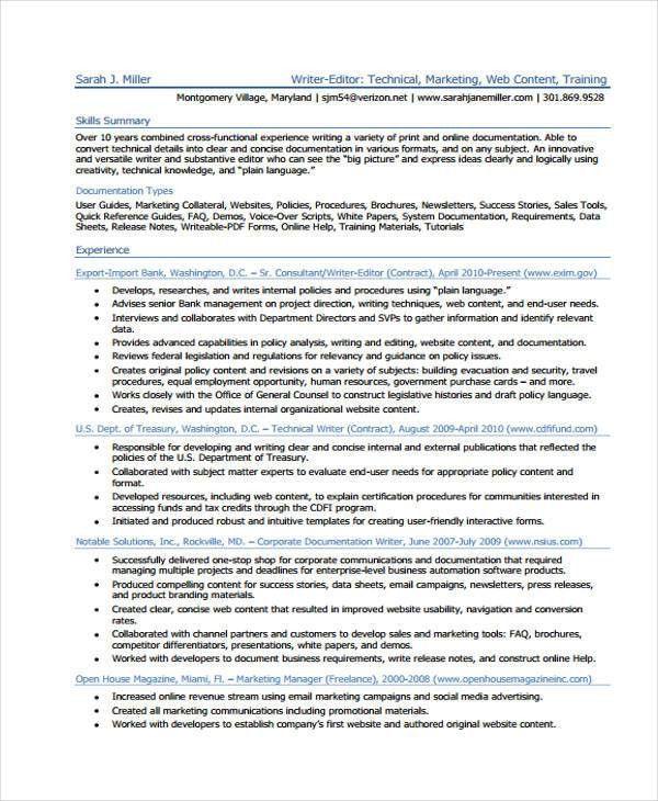 Writer Resumes - 9+ Free Word, PDF Format Download | Free ...