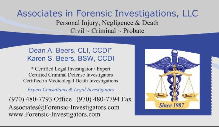 Associates in Forensic Investigations - Weld & Larimer CO and ...