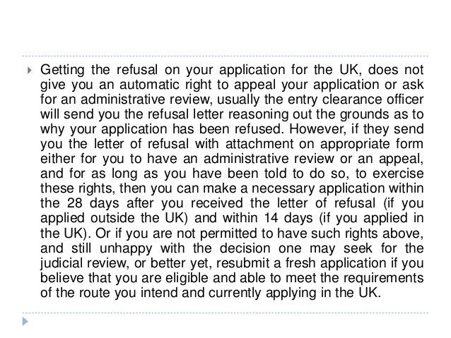 Uk appeal review, reconsideration request of refused application