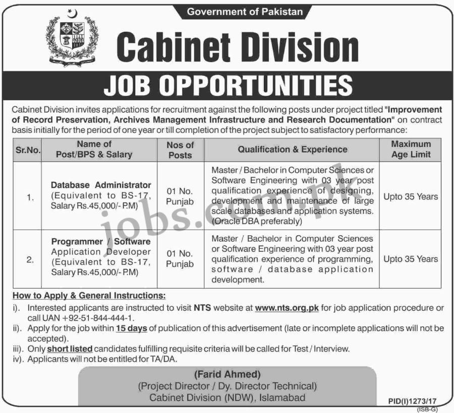 Cabinet Division Pakistan Jobs 2017 for 2+ IT / Database ...