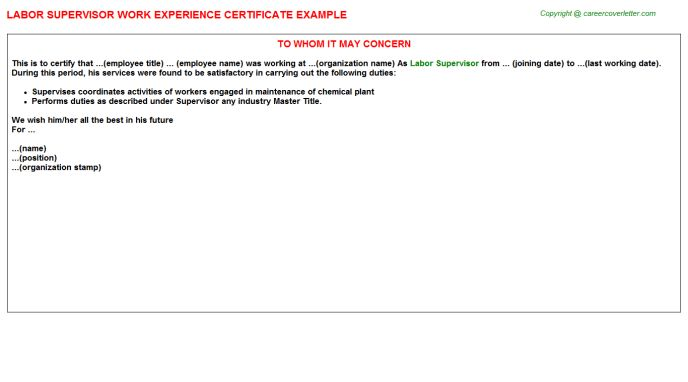 Labor Supervisor Work Experience Certificate