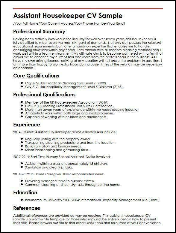 Assistant Housekeeper CV Sample | MyperfectCV