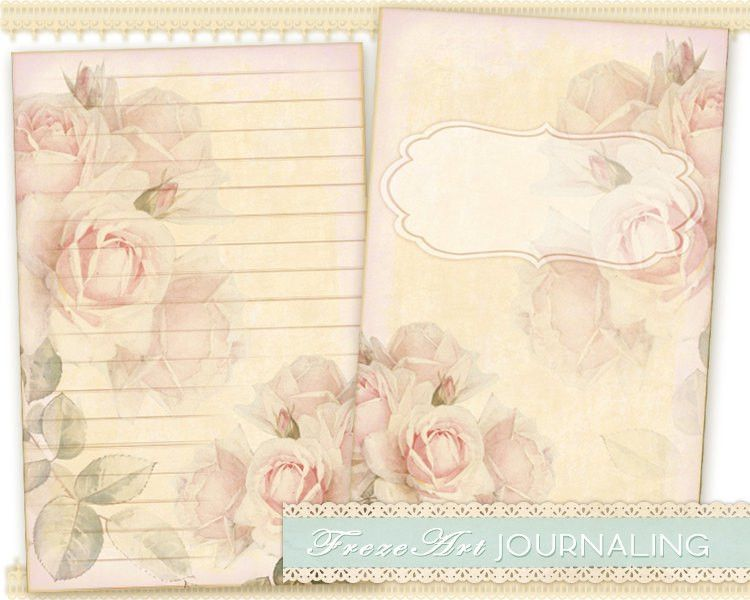 Pink roses Journal Pages Diary Pages printable paper craft ...