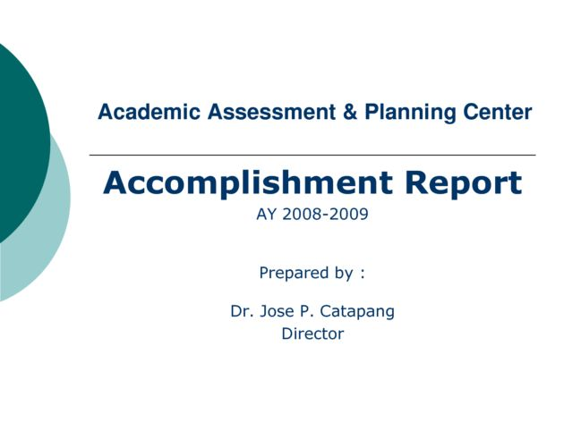 Accomplishment Report Format for Academic Assessment : Helloalive