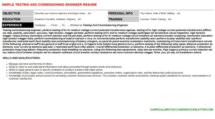 Testing And Commissioning Engineer Cover Letter & Resume