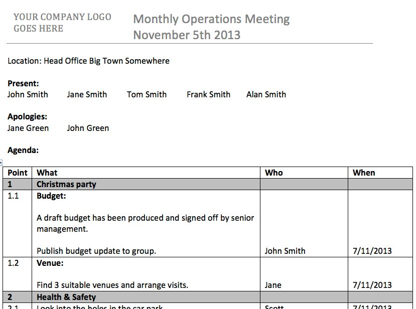 meeting minutes template word 2013
