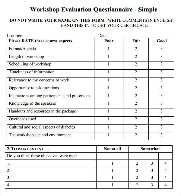 Sample Workshop Evaluation Form Example. Parent Workshop .