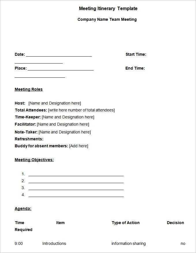 Meeting Itinerary Template - 4 Free Word Documents Download | Free ...