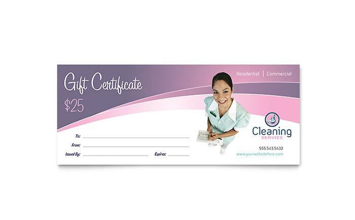 House Cleaning & Maid Services Gift Certificate Template Design