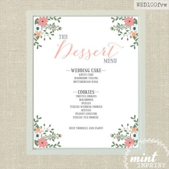 20+ Dessert Menu Templates – Free Sample, Example Format Download ...