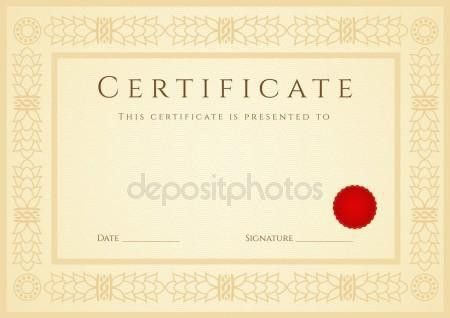 Gold Certificate of completion (template or sample background ...