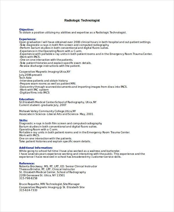 Radiologist Resume Template - 6+ Free Word, PDF Documents Download ...