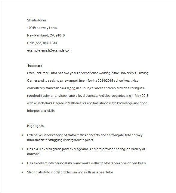 Ingenious Design Ideas Tutor Resume Sample 16 Tutor Sample Resume ...