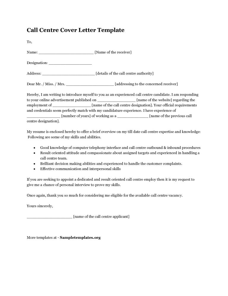 Surprising Inspiration Call Center Cover Letter 14 Call Center ...