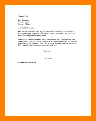 9+ retract letter of resignation | resume emails