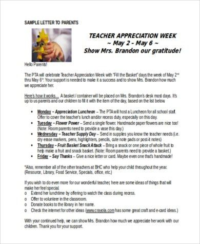 Teacher Appreciation Letters - 7+ Free Documents in Word, PDF