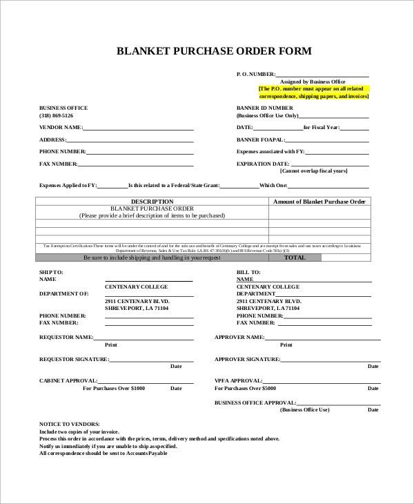 Sample Purchase Order Form - 9+ Examples in Word, PDF
