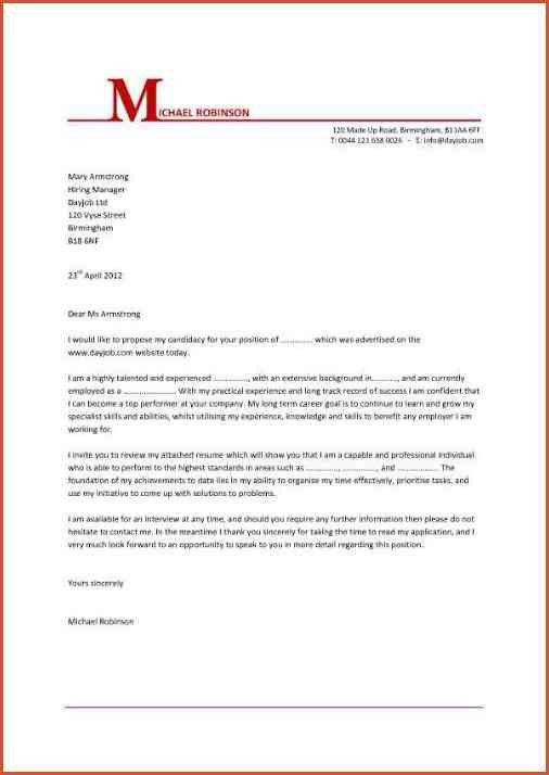 EXAMPLE OF A COVER LETTER FOR A JOB | proposal bid template