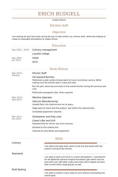 Kitchen Staff Resume samples - VisualCV resume samples database