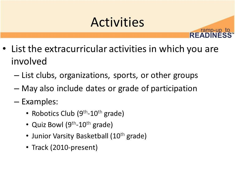 examples of extracurricular activities for resume