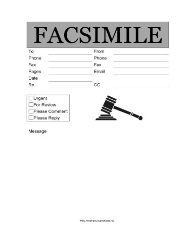 Legal Fax Cover Sheet at FreeFaxCoverSheets.net