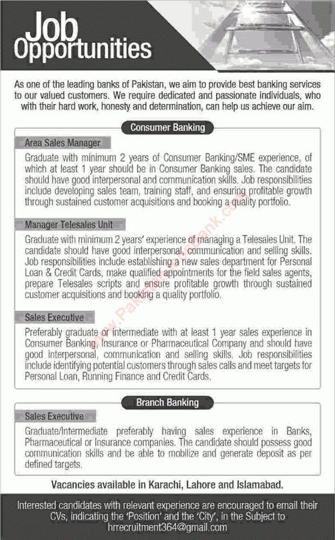 Bank Jobs in Pakistan April 2016 in Karachi, Lahore & Islamabad ...