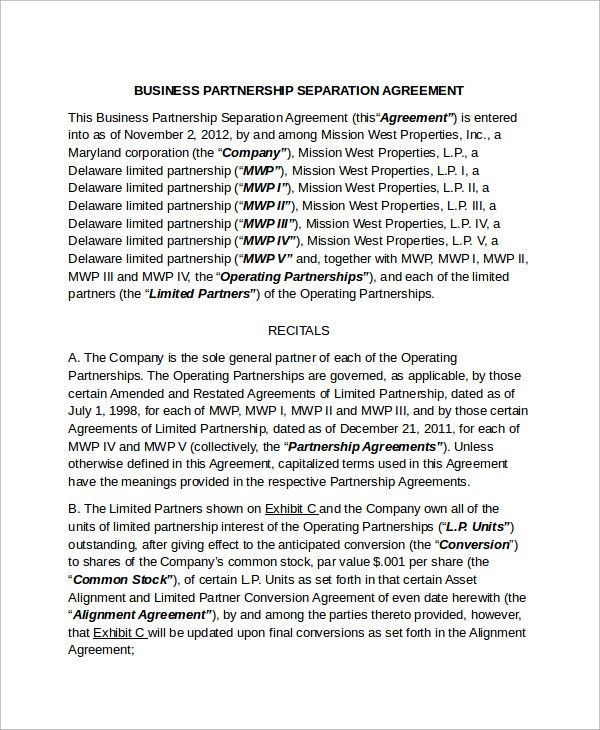 Business Separation Agreement Template. General Business ...