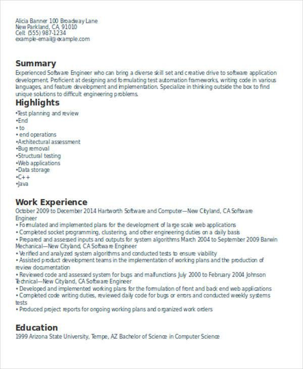 Experienced Resume Format Template - 6+ Free Word, PDF Format ...