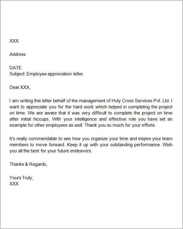 Thank You Note For Employee Sample - Resume Acierta.us