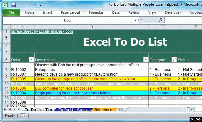 Free To Do List Multiple People | Excel Help Desk