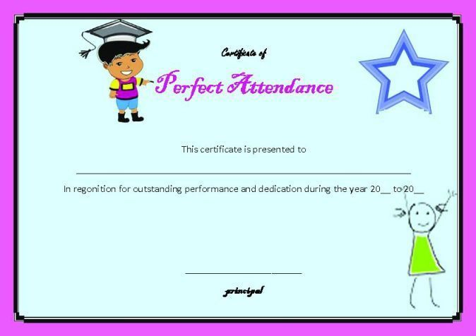 Perfect Attendance Certificate : 23+ Word Templates (School Clip ...