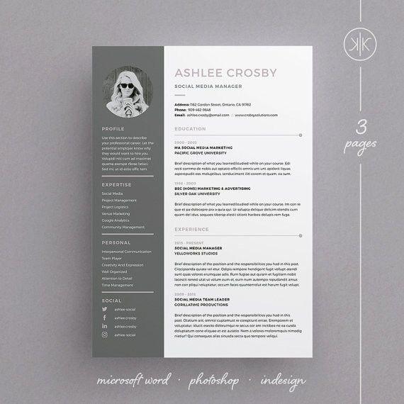 Ashlee Resume/CV / Cover letter / Template / 3 Page Design / Word ...