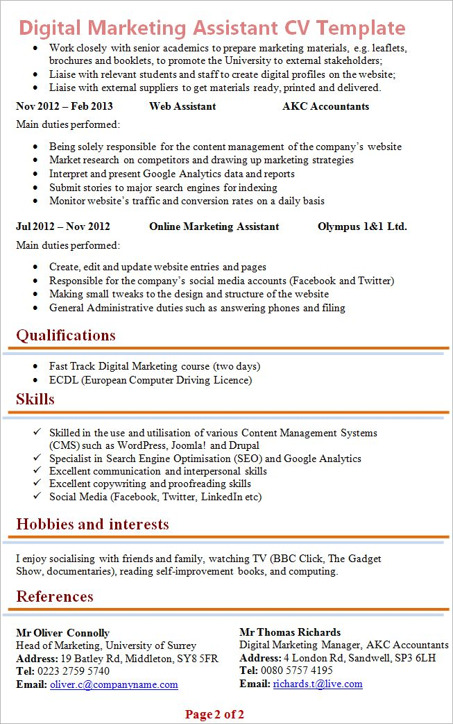Digital Marketing Assistant CV Template + Tips and Download – CV Plaza