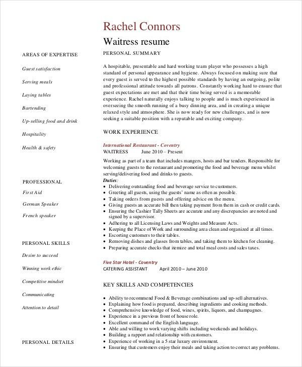 waitress resume objective samples cocktail server resume chef ...