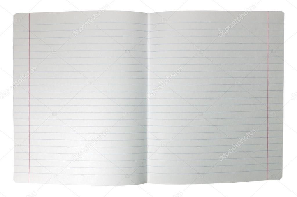 Isolated double sheet spread seamless lined note paper background ...