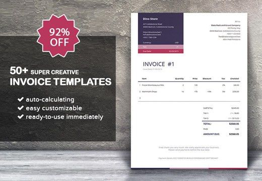 50+ Super Creative Invoice Templates – Only $14 | InkyDeals