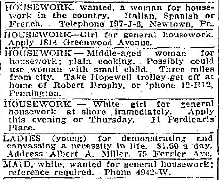 Help Wanted-Female Classified Ads: Working Women Ancestors