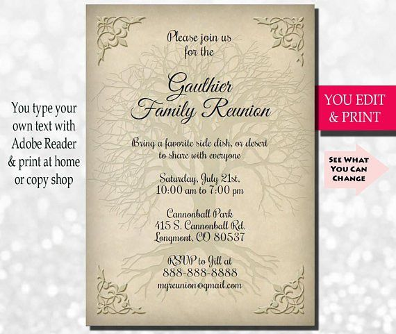 Family Reunion Invitation Family Party Invitation Family Get