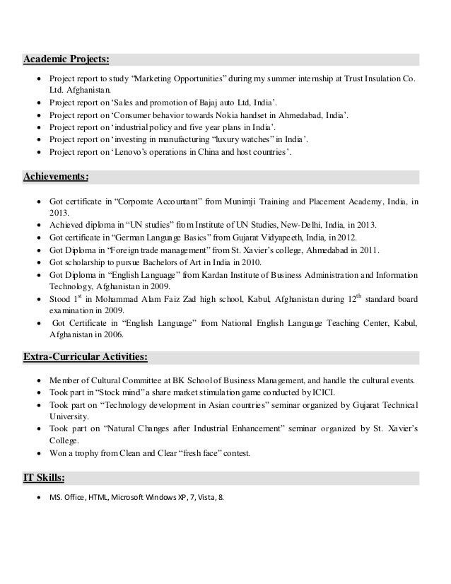 Resume sample for freshers.